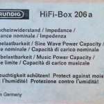 Grundig HiFi-Box 206a - Typschild