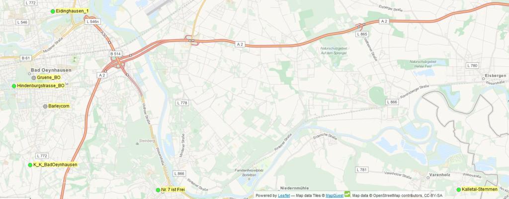 Freifunk-Karte Bad Oeynhausen, Vlotho, Kalletal