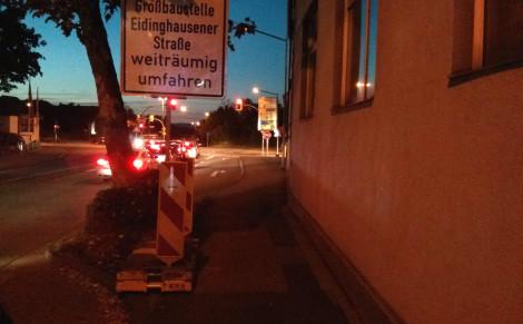 Kombinierter, benutzungspflichtiger Geh-/Radweg an der Steinstraße in nördlicher Richtung