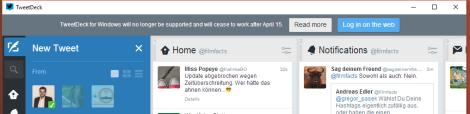 Tweetdeck - Hinweis auf Einstellung der App