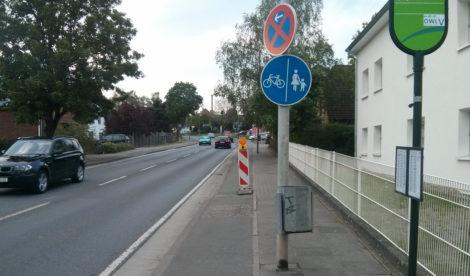 Warnbake (ein Lieblingsverkehrszeichen) auf Lieblingsloch.