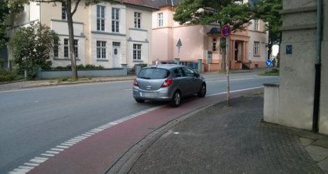 Schutzstreifen an der Goebenstraße/Fürstenaustraße in Herford - Fahrtrichtung Bahnhof