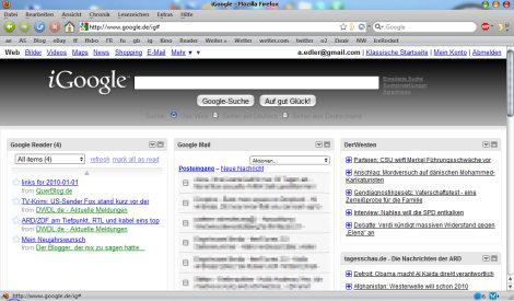 iGoogle ohne Tabs - minimiertes Menu